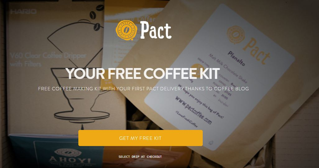 Pact Coffee Voucher Free Coffee Making Kit.