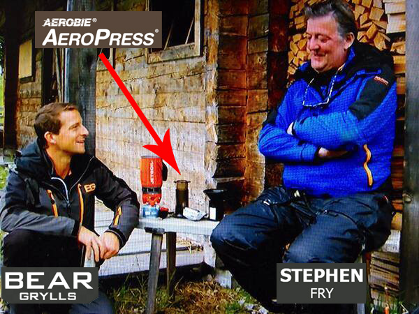 Bear Grylls and Stephen Fry enjoying Aeropress Coffee.