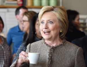 Hilary Clinton Drinks Coffee.