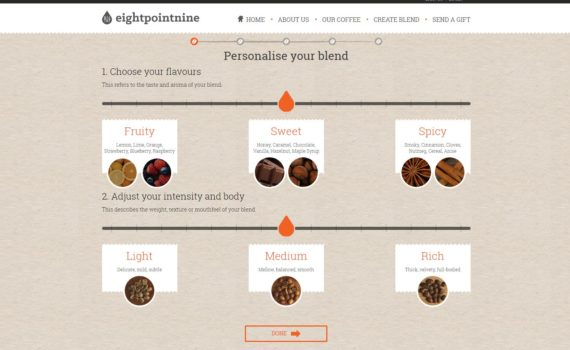 Eight Point Nine Coffee, Personalised Blends.