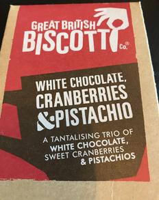 White chocolate cranberries pistachio.