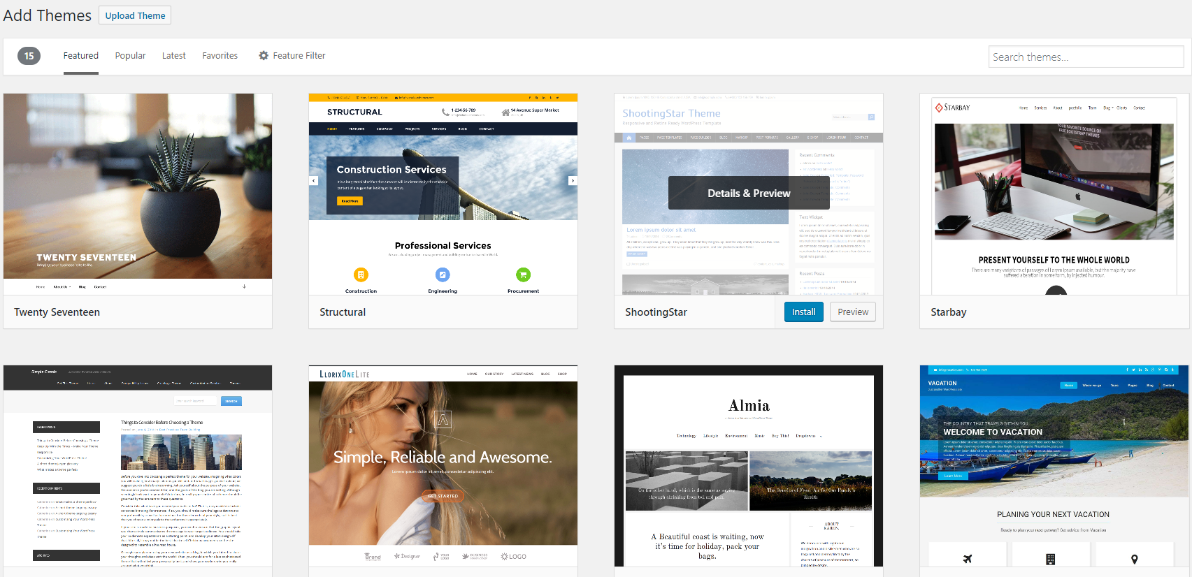 Add WordPress Themes.
