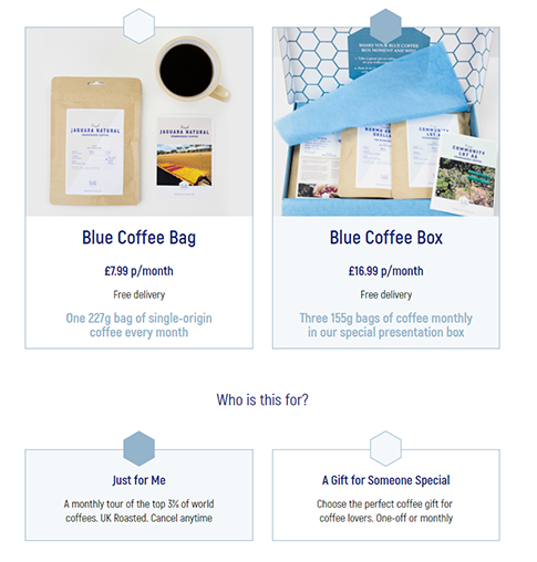 Blue coffee box, coffee box subscription service signup process.