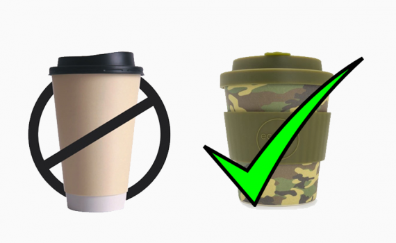 No to disposable yes to reusable coffee cups.
