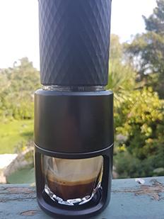 First espresso from Staresso manual pump espresso maker.